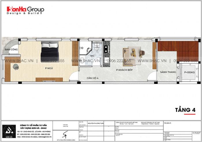 Bố trí công năng tầng 4 nhà ống kết hợp kinh doanh và căn hộ cho thuê tại Vũng Tàu