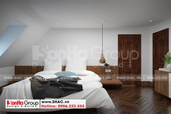 Còn đây là phương án thiết kế nội thất phòng ngủ giúp việc tại tầng tum ngôi biệt thự