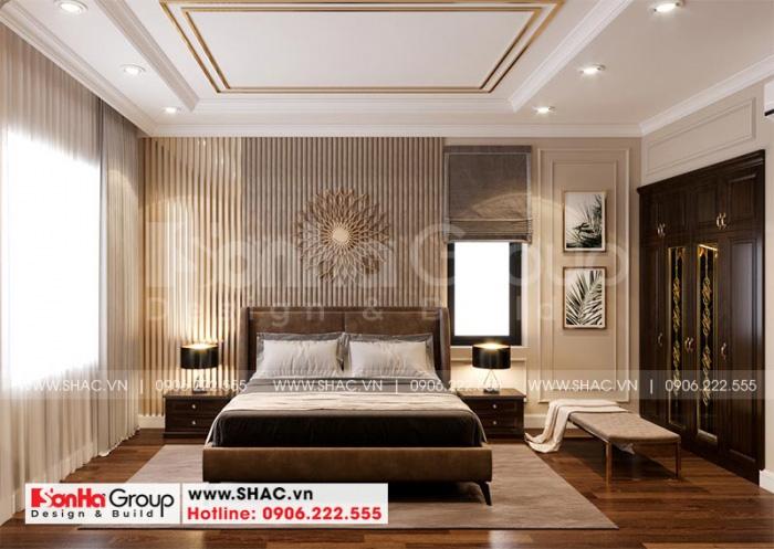 Mẫu phòng ngủ tân cổ điển sử dụng gam màu trầm ấm đủ làm nên vẻ đẹp hoàn hảo cho căn phòng với sở thích chủ nhân đề ra