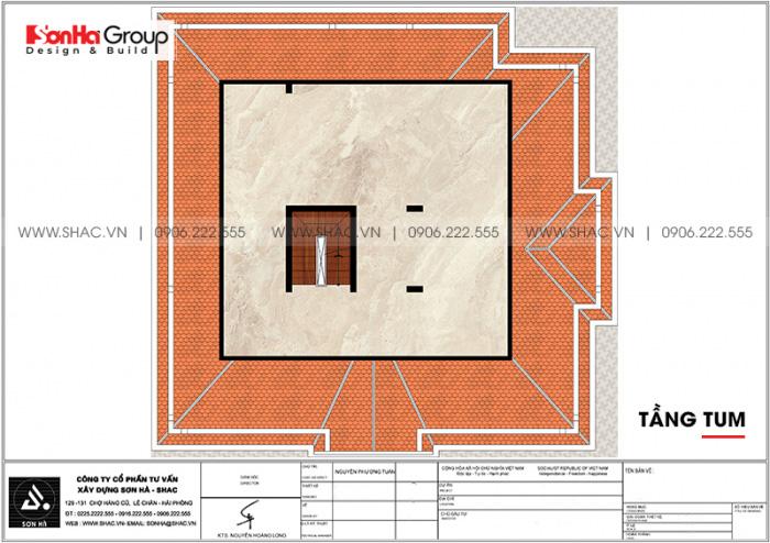 Bản vẽ công năng tầng tum biệt thự tân cổ điển 2 mặt tiền tại Hà Nội