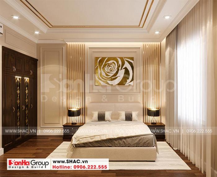 Nội thất phòng ngủ phong cách tân cổ điển tiện nghi dành cho biệt thự 3 tầng độc đáo tại Vinhomes Imperia