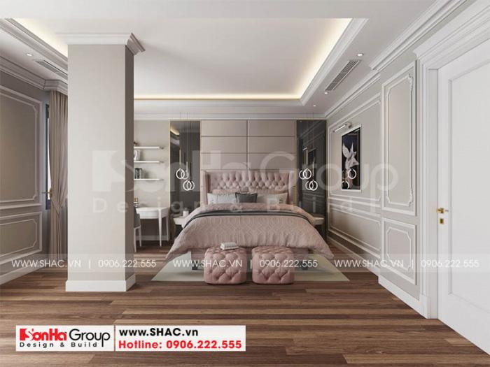 Phòng ngủ bé gái được trang trí gam màu hồng nhạt tươi trẻ và sinh động