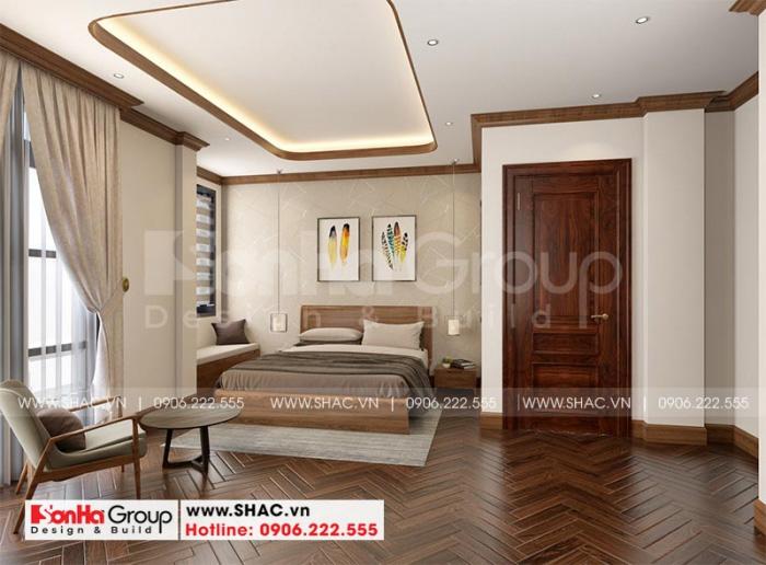 Thiết kế nội thất phòng ngủ ông bà đơn giản mà tiện nghi tại tầng 2 ngôi biệt thự