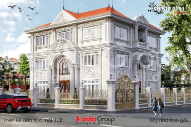 BÌA thiết kế biệt thự 3 tầng 2 mặt tiền kiểu tân cổ điển tại hà nội sh btp 0151