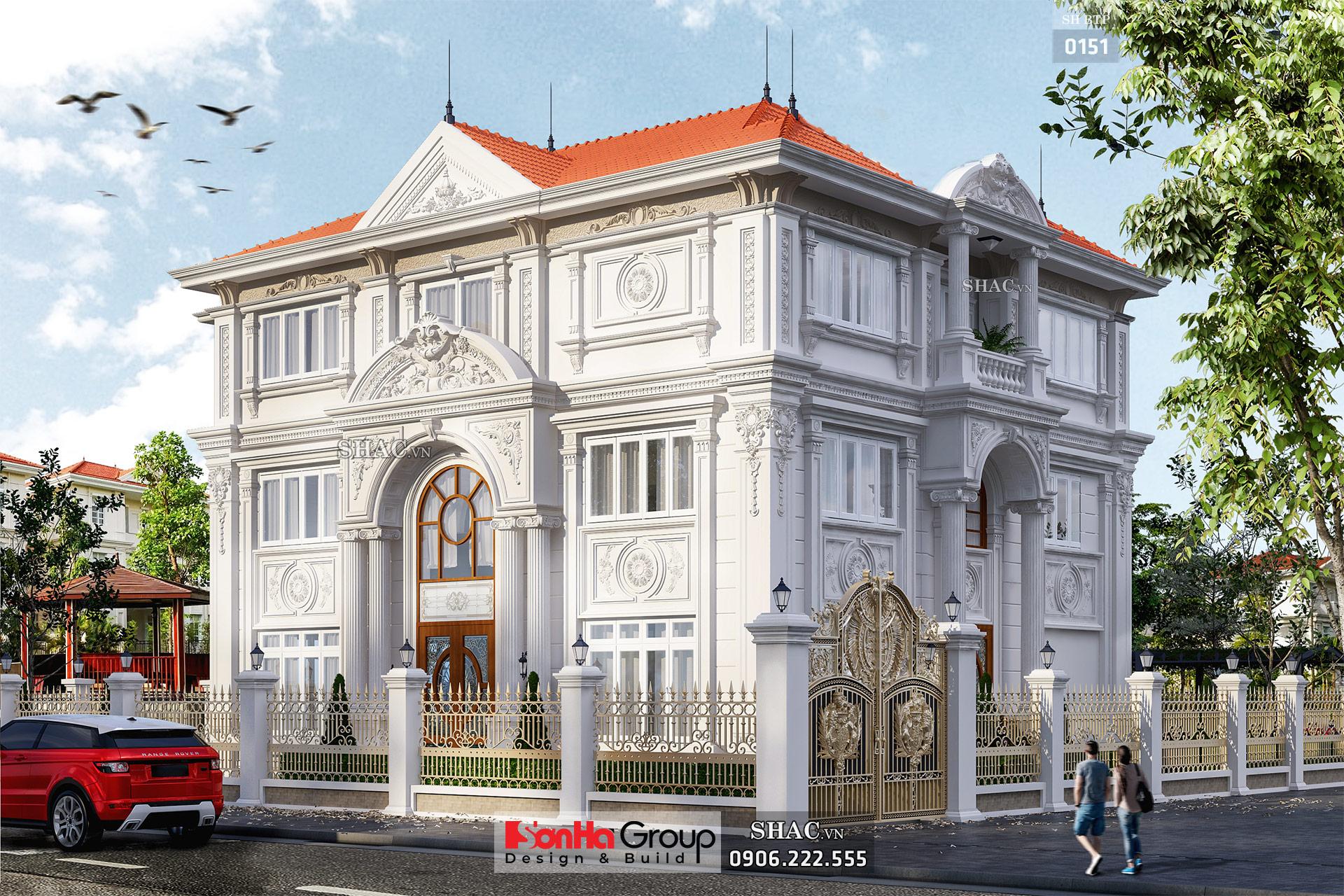 Biệt thự cổ điển 3 tầng 2 mặt tiền diện tích 180m2