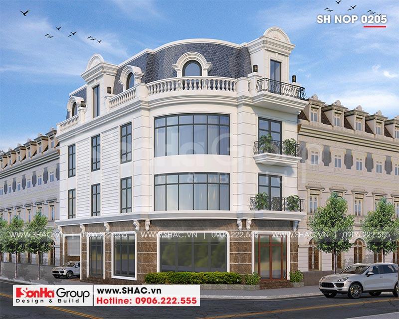 Thiết kế nhà lô góc phố 2 mặt tiền tân cổ điển 3 tầng tại Hà Nội - SH NOP 0205 1
