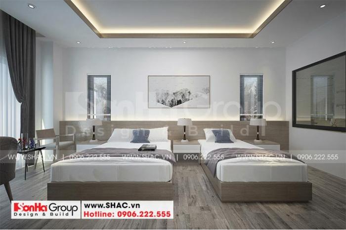 Mẫu nội thất hai giường ngủ đơn của khách sạn mini 6 tầng phong cách hiện đại đẹp