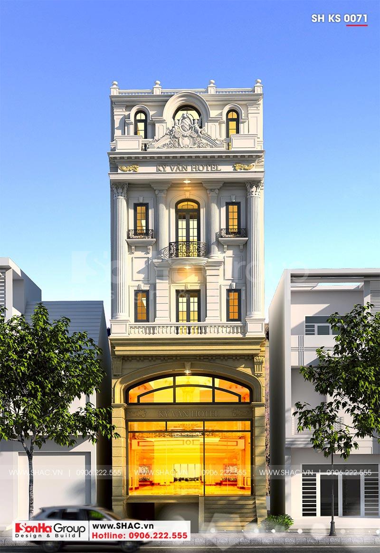 Mẫu khách sạn đẹp tiêu chuẩn 2 sao kiến trúc tân cổ điển sàn 100m2