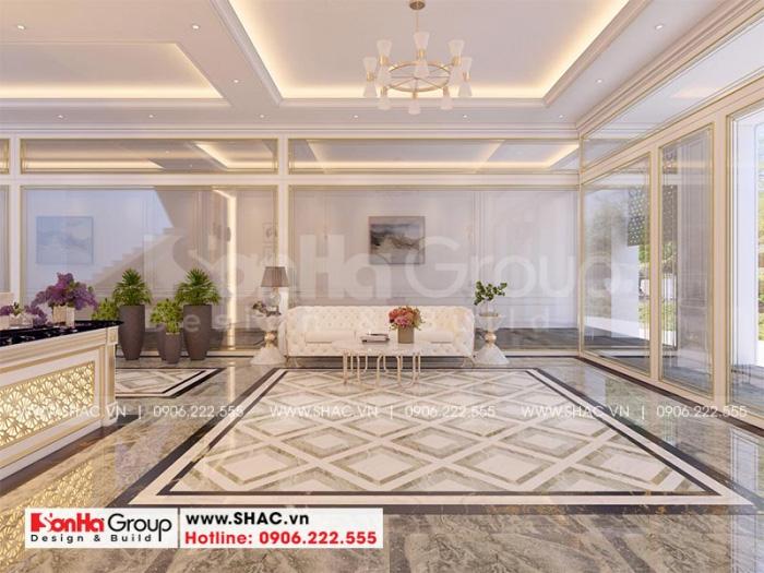 Không gian sảnh chờ khách sạn với thiết kế nội thất hiện đại, hài hòa với tổng thể chung