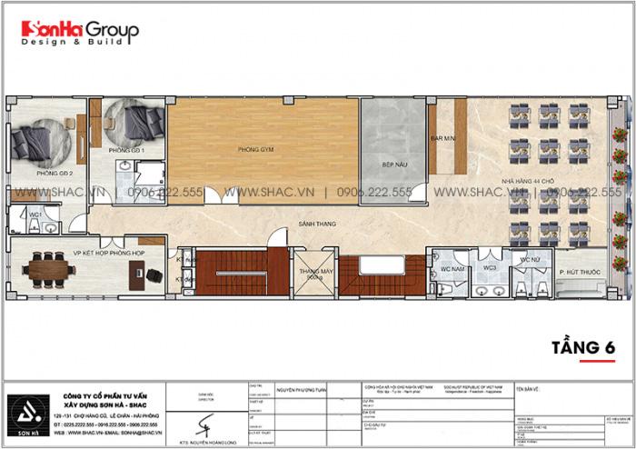 Bố trí công năng tầng 6 khách sạn mini 6 tầng tiêu chuẩn 2 sao tại Bình Dương