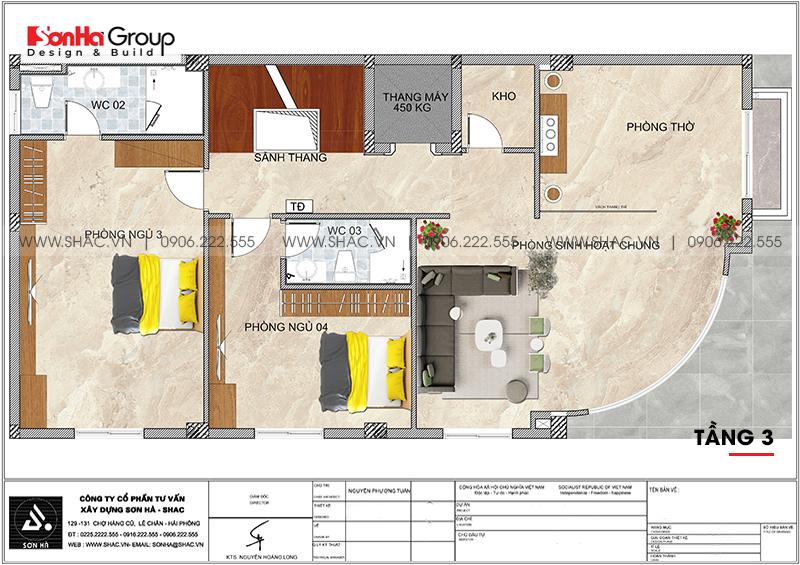 Thiết kế nhà lô góc phố 2 mặt tiền tân cổ điển 3 tầng tại Hà Nội - SH NOP 0205 4