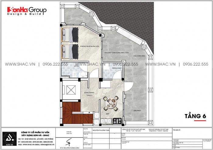 Bản vẽ bố trí công năng tầng 6 khách sạn tiêu chuẩn 3 sao tại Khánh Hòa