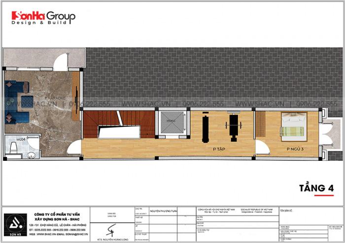 5 Bản vẽ tầng 4 nhà ống tân cổ điển 3 phòng ngủ tại bình thuận sh nop 0204