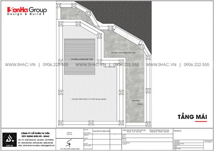 Bản vẽ bố trí công năng tầng mái khách sạn tân cổ điển 3 sao tại Khánh Hòa