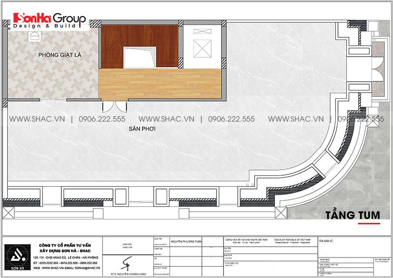 Thiết kế nhà lô góc phố 2 mặt tiền tân cổ điển 3 tầng tại Hà Nội - SH NOP 0205 5