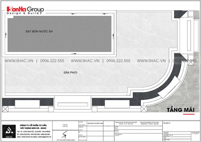 Bản vẽ công năng tầng mái nhà ống tân cổ điển 3 tầng sang trọng tiện nghi