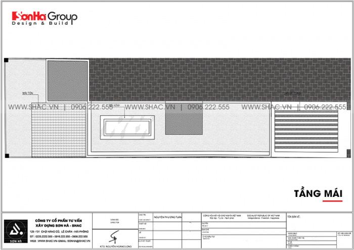 7 Bản vẽ tầng mái nhà ống tân cổ điển 5 tầng tại bình thuận sh nop 0204