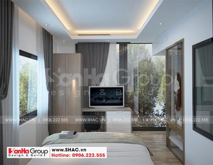 Không gian phòng ngủ khách sạn mini 6 tầng được hướng đến tiêu chuẩn cao cấp