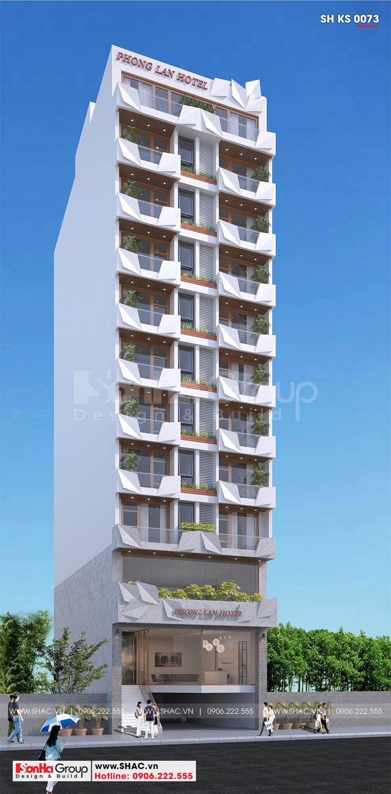 Thiết kế khách sạn hiện đại 12 tầng tiêu chuẩn 3 sao tại Bình Định - KS 0073