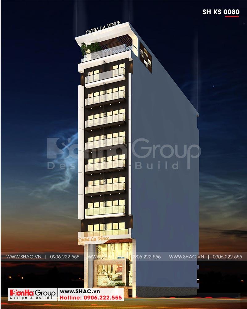 Kiến trúc khách sạn hiện đại 10 tầng tiêu chuẩn 3 sao tiện nghi sang trọng