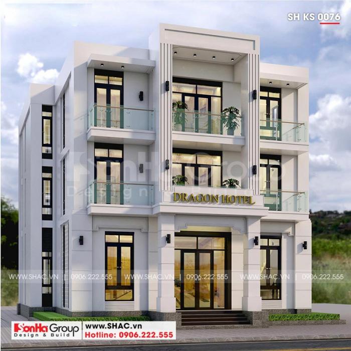 Thiết kế khách sạn mini 3 tầng mặt tiền 14m – SH KS 0076