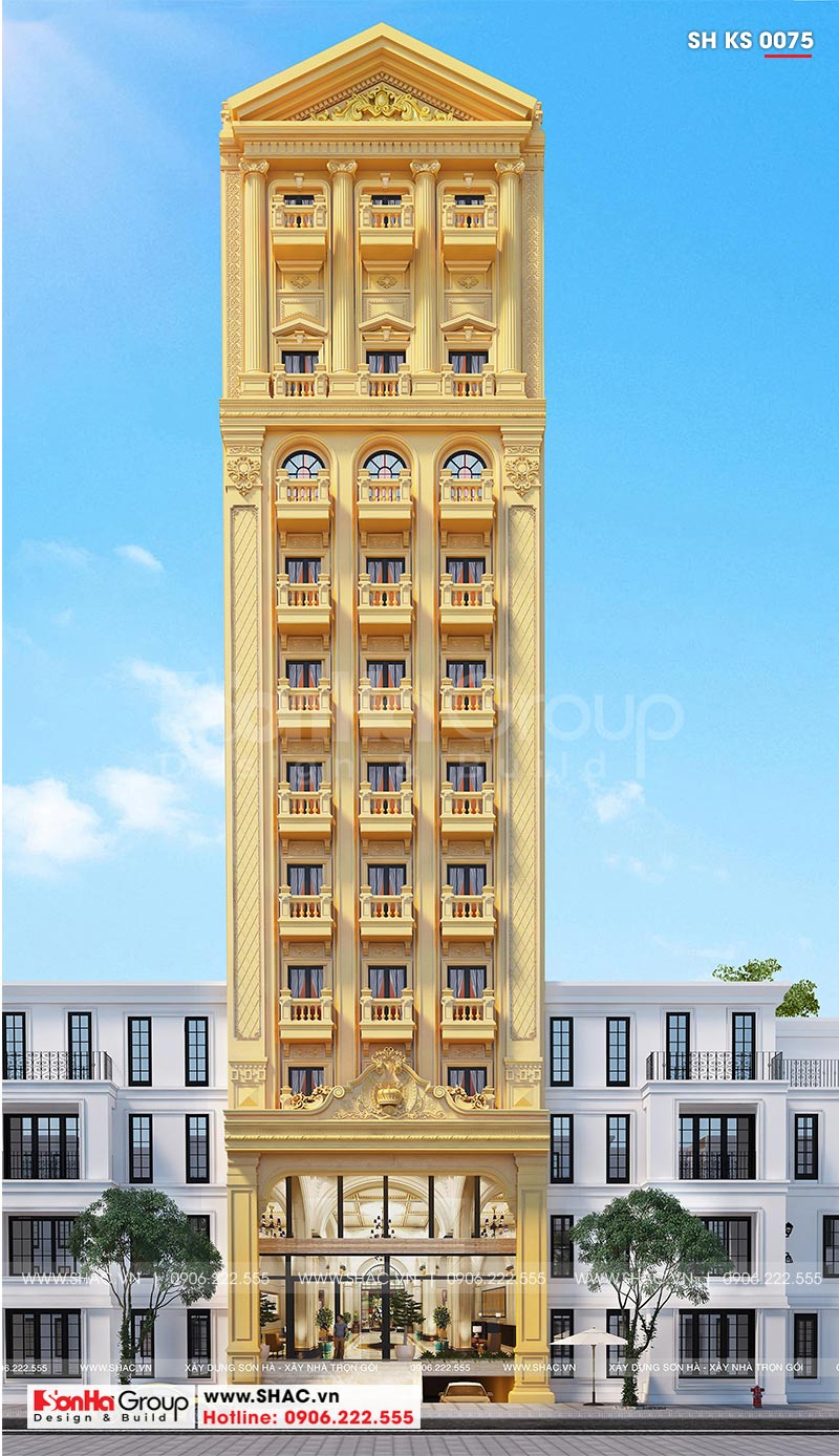 Mẫu thiết kế khách sạn tân cổ điển 3 sao mới nhất tại Phú Quốc (Kiên Giang)- SH KS 0075 1
