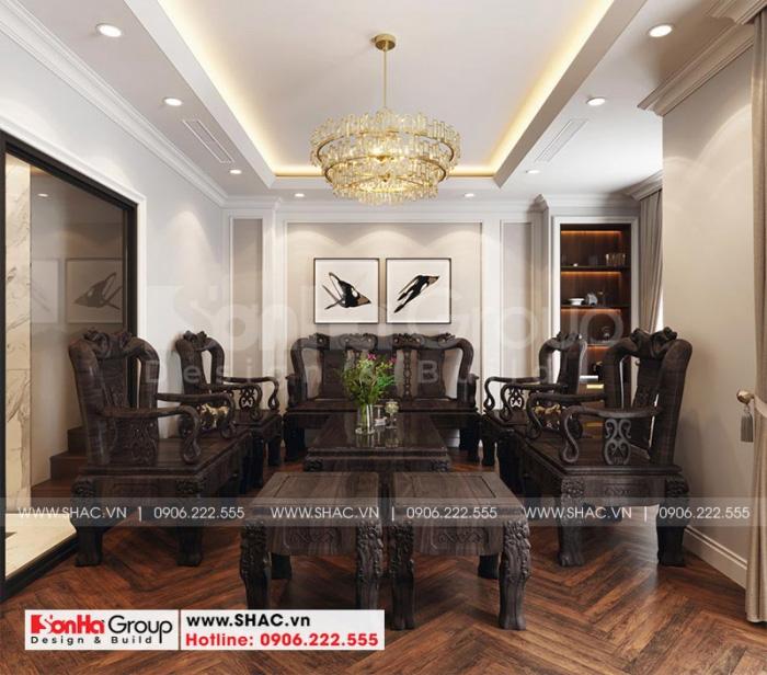 Phòng khách biệt thự Vinhomes Cầu Rào 2 được thiết kế trang trí giản dị