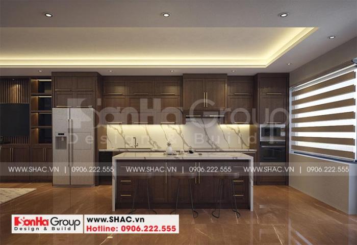 Mẫu tủ bếp đẹp kết hợp màu sắc phù hợp với nền và tường