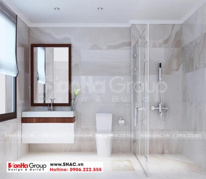 Thiết kế nội thất phòng tắm và vệ sinh giản dị với vật liệu được đầu tư