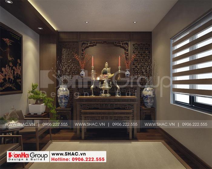 Thiết kế nội thất phòng thờ tôn nghiêm với vật liệu gỗ tự nhiên