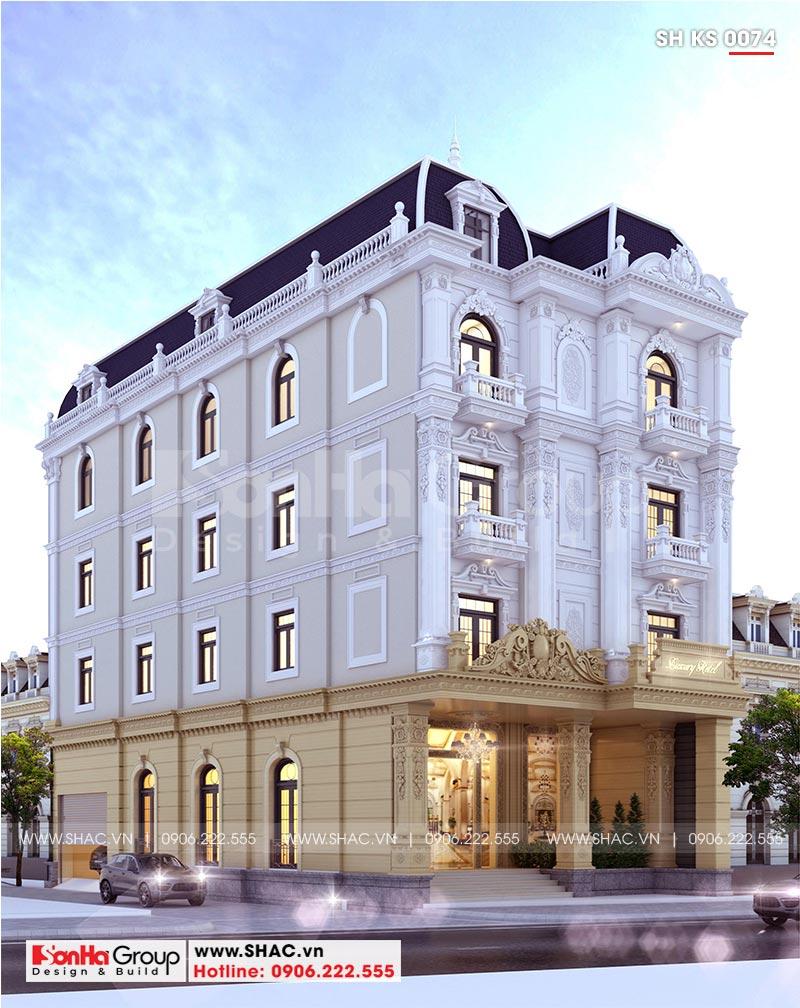 Mẫu khách sạn đẹp mini 2 tầng kiến trúc tân cổ điển tại Phú Yên
