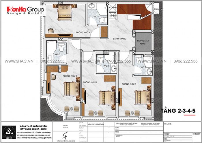 Mặt bằng công năng tầng 2+3+4+5 khách sạn tân cổ điển tiêu chuẩn 2 sao tại Quảng Ninh