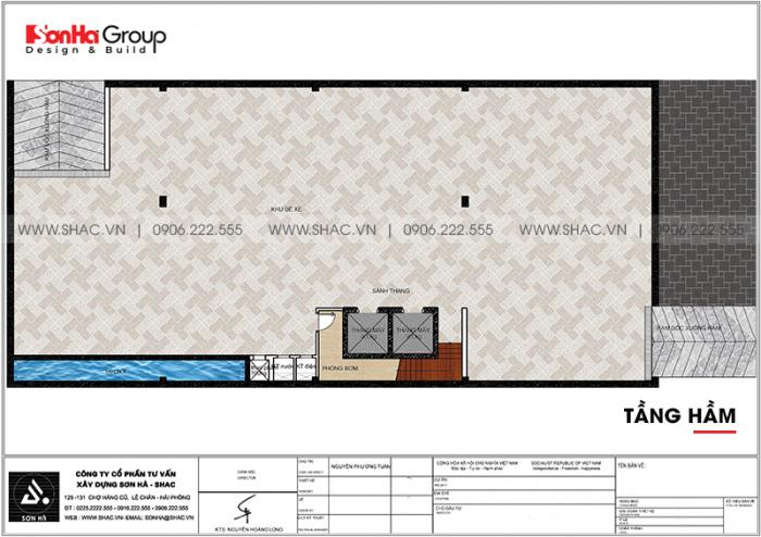 Bản vẽ công năng mặt bằng tầng hầm khách sạn tân cổ điển tiêu chuẩn 3 sao