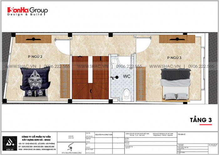 Bản vẽ bố trí công năng tầng 3 nhà ống tân cổ điển 4 tầng tại Hải Phòng