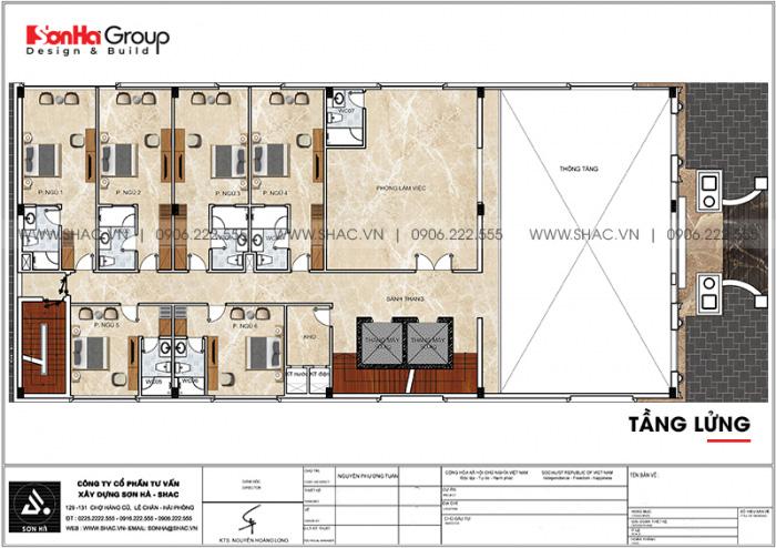 Bản vẽ công năng mặt bằng tầng lửng khách sạn tân cổ điển tiêu chuẩn 3 sao