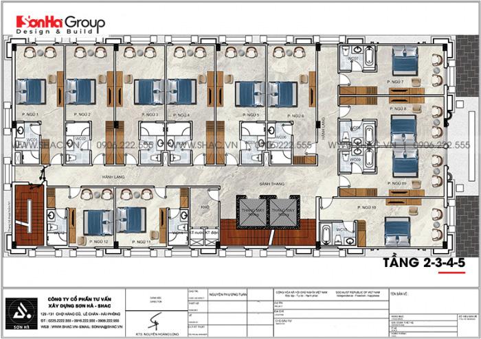 Bản vẽ công năng mặt bằng tầng 2+3+4+5 khách sạn tân cổ điển tiêu chuẩn 3 sao