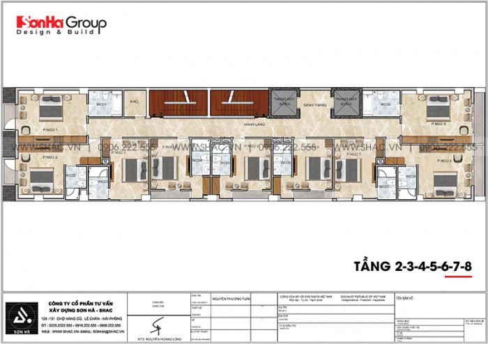 Mặt bằng công năng tầng 2 đến 8 khách sạn 10 tầng hiện đại 3 sao tại Hải Phòng