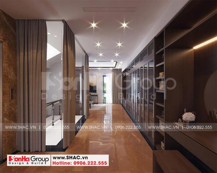 Thiết kế nội thất phòng thay đồ đẳng cấp về cả vật liệu và trang trí