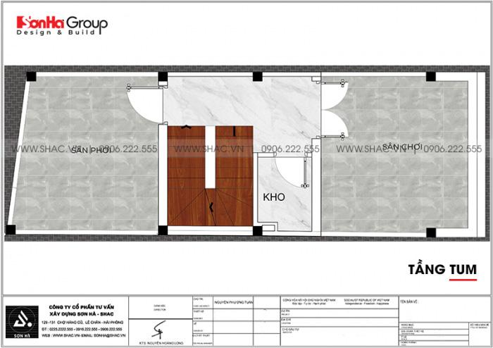 Bản vẽ bố trí công năng tầng tum nhà ống tân cổ điển 4 tầng tại Hải Phòng