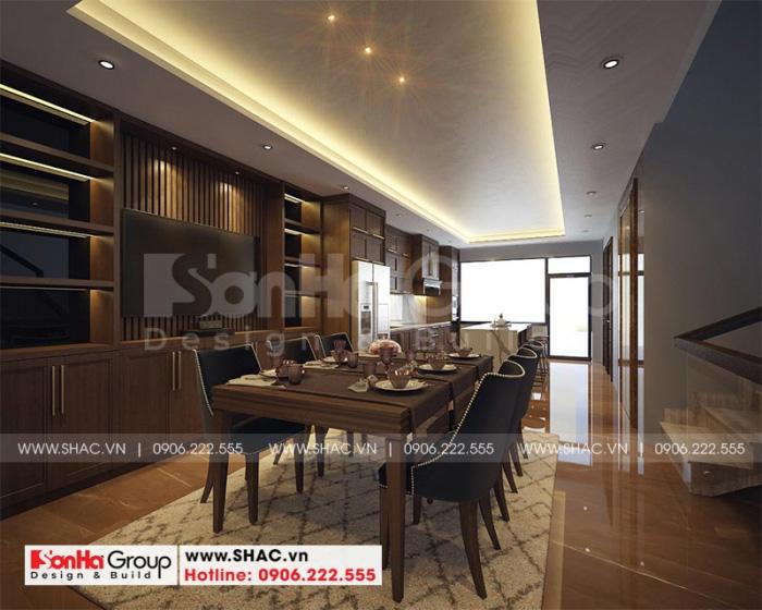 Thiết kế phòng ăn với nội thất gỗ mang đến những bữa ăn ấm cúng