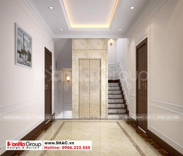 Thiết kế nội thất sảnh các tầng với lối đi bộ và thang máy bố trí khoa học