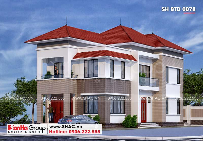 Mẫu thiết kế biệt thự hiện đại 2 tầng mái thái đẹp hoàn hảo tại Hải Phòng – SH BTD 0078 1