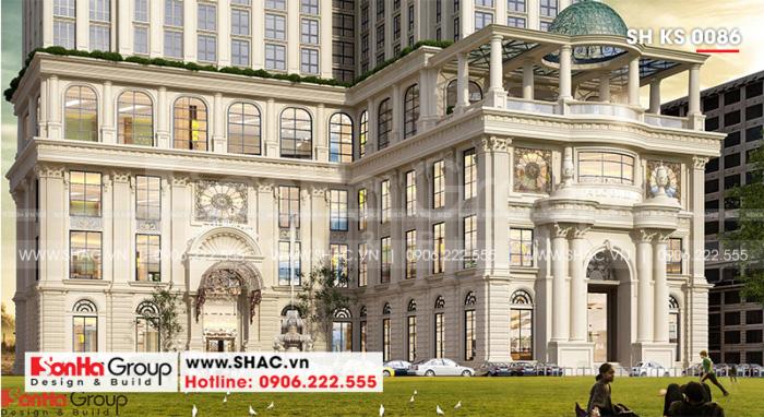 Cận cảnh các đường nét mặt tiền đẹp của khách sạn 5 sao tân cổ điển châu Âu