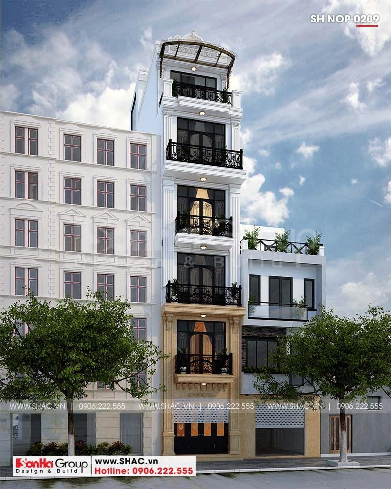 Mẫu thiết kế nhà phố 6 tầng tân cổ điển có thang máy tại Hà Nội