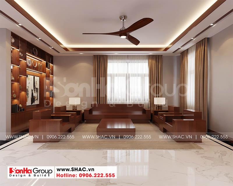 Thiết kế nội thất phòng khách hiện đại sang trọng với nội thất gỗ tự nhiên