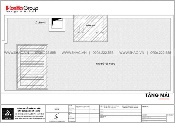 Mặt bằng bố trí công năng tầng mái nhà ống 2 mặt tiền 5x11,94m tại Hải Phòng