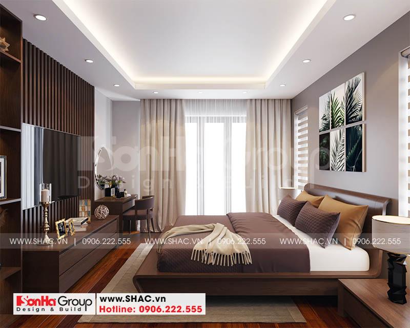 Thiết kế nội thất phòng ngủ master ấm cúng với gam màu giản dị tinh tế