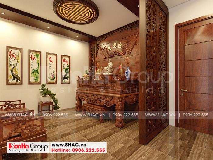 Thiết kế nội thất phòng thờ tôn nghiêm với chất liệu gỗ cao cấp
