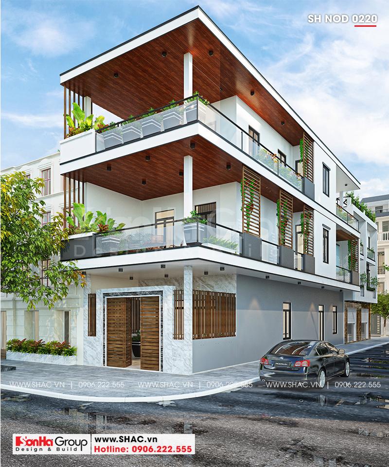 Vật liệu gỗ được dùng trang trí nội ngoại thất ngôi nhà phố 3 tầng hiện đại