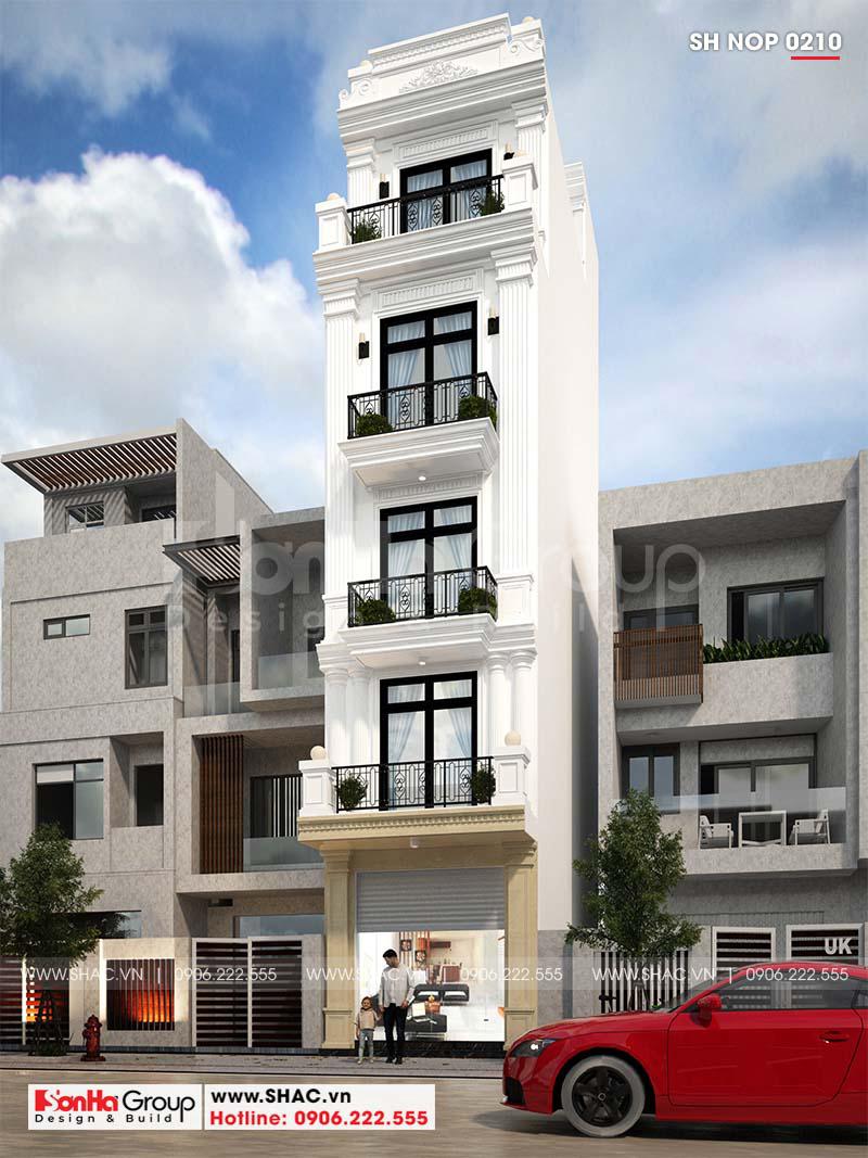 Mẫu mặt tiền nhà phố 4m phong cách tân cổ điển có thang máy tại Hải Phòng